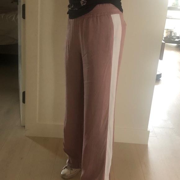 Sweaty Betty Pants - Sweaty Betty pink silk wide leg track pants. #WFH